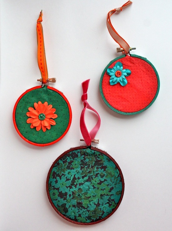Rit Dye Embroidery Hoop Ornaments