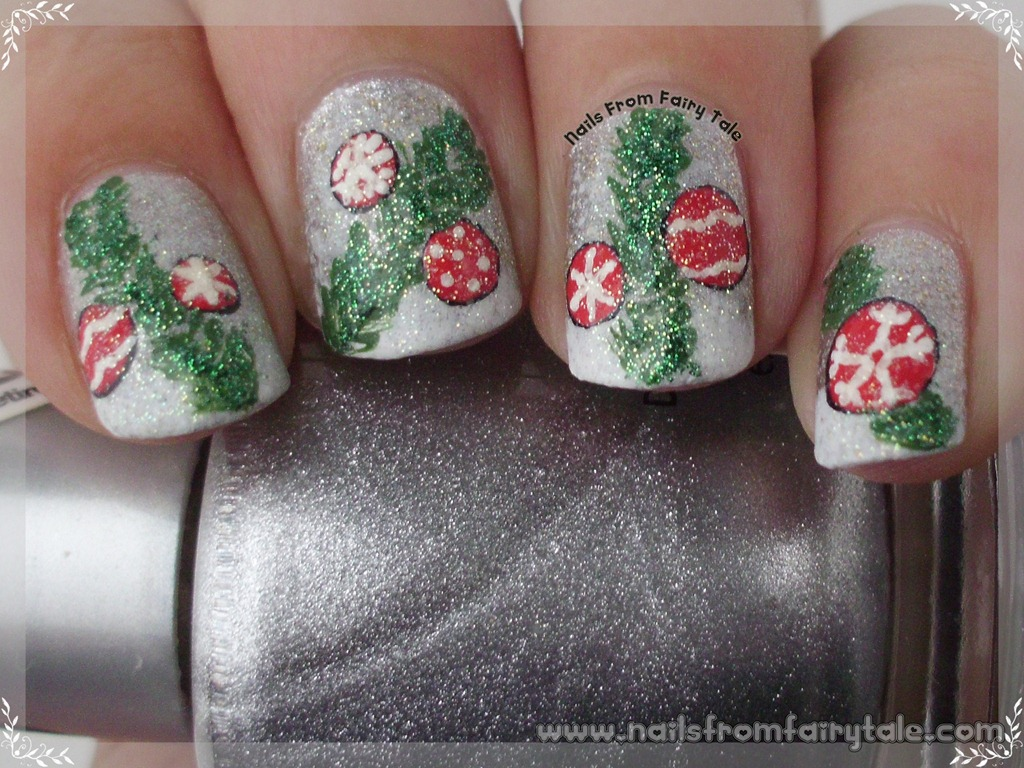 Silver Glitter and Red Ornaments