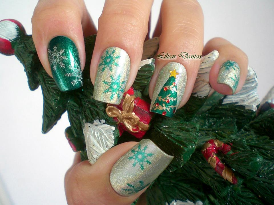 Silver and Green Snowflakes and Tree