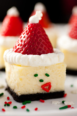 Santa Hat Mini Cheesecakes